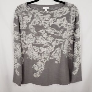 J.Jill Knit Floral/Abstract Boat neck Sweater Sz S